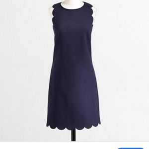 Jcrew Navy Scalloped Dress - 12